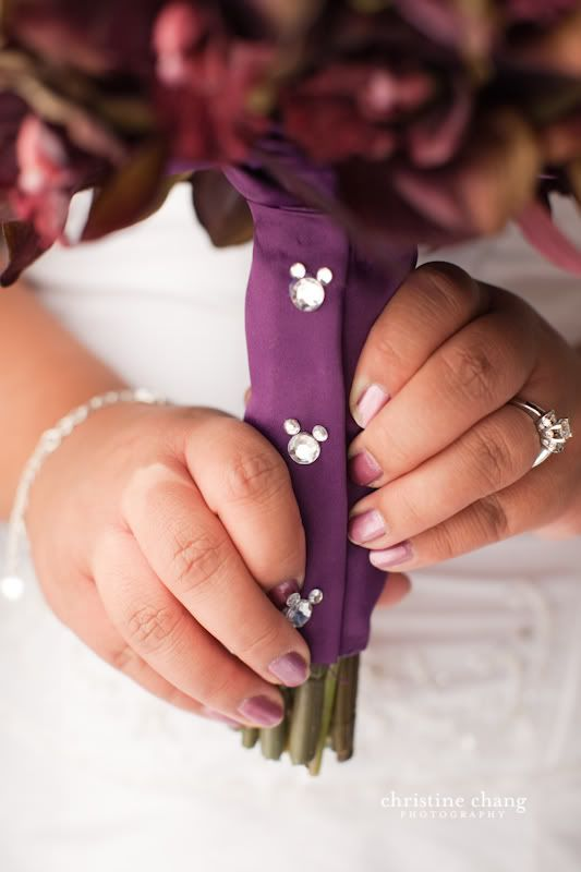 crystal mickeys on bouquet wrap. that moment when you're not sure if you should pin this on your disney board or your wedding board...