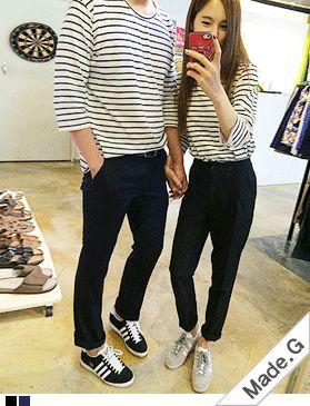 Today's Hot Pick :ボーダー柄7分袖Tシャツ(ペアルック可能) http://fashionstylep.com/SFSELFAA0014044/hkm0977jp/out GOGOSINGオリジナルTシャツ☆ ボーダー柄7分袖Tシャツです。 ベーシックなボーダーTで着まわし力抜群◎ やわらかいコットン素材なので軽く楽チンです。 どんなボトムスとも合わせやすくデイリーに活躍しそう♪ サイズ選択できペアルックもOK! ◆2色:ブラック/ネイビー