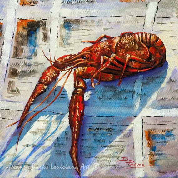 Big Red, Louisiana Crawfish, Louisiana Seafood Print or Fine Canvas, Boiled Crawfish, New Orleans Art, Louisiana Art by New Orleans Artist