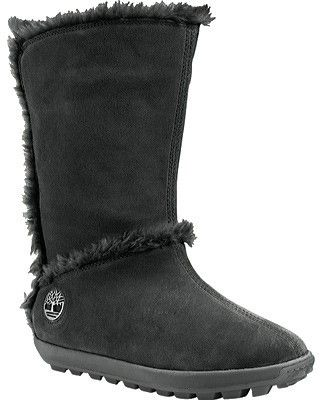 Timberland Women's Mukluk Pull-On Faux-Fur Boot Black Suede Size 7 M