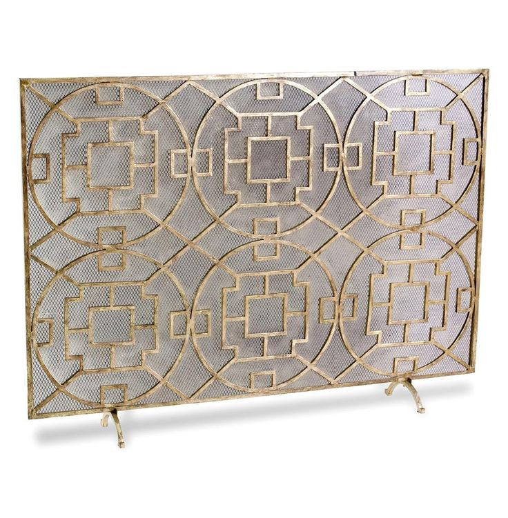 fireplace screens | ... Transitional Gold Leaf Medallion Fireplace Screen | Kathy Kuo Home