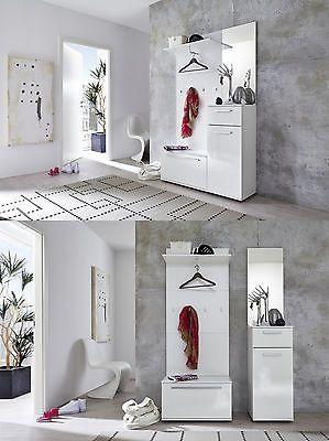Flur Garderobe Garderobenset weiß Glanz Garderobenbank Paneel Dielen Möbel Modul