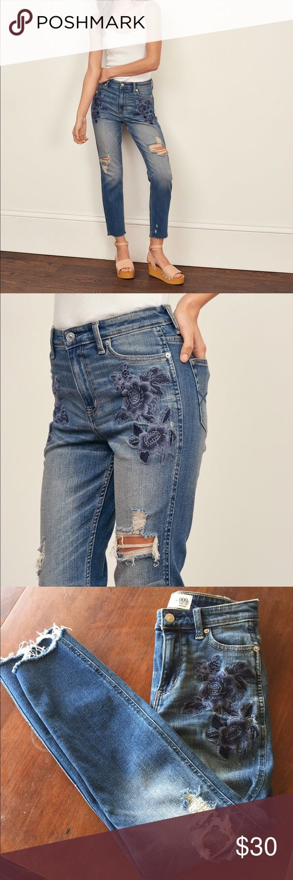 "high rise embroidered curvy jeans 000R high rise embroidered curvy jeans inseam 26.5"" slightly cropped above ankles. like new.destroyed dark wash. Abercrombie & Fitch Jeans Boyfriend"