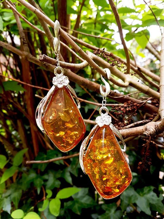Ear weights 'Life Cycle' amber resin