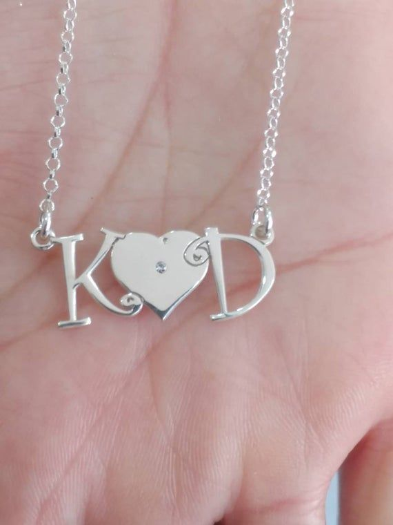 Personalized Dainty Two Letters With Heart Necklace Two Etsy Initial Jewelry Monogram Necklace Initial Necklace