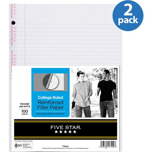 reinforced filler paper college ruled Five star filler paper, college ruled, reinforced, loose leaf paper, white, 100 sheets/pack, 4-pack (38032): amazonca: office products.