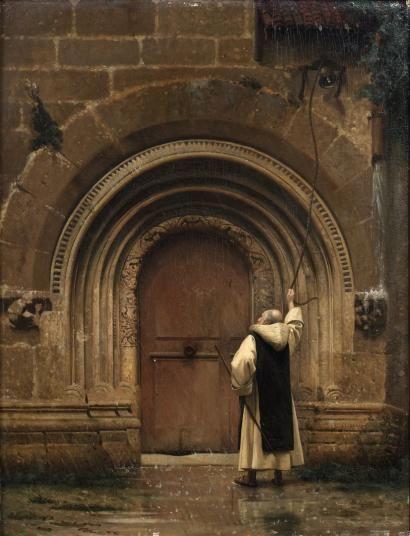 Jean-Léon Gérôme - Moine sonnant la cloche du monastère sous la pluie Panneau