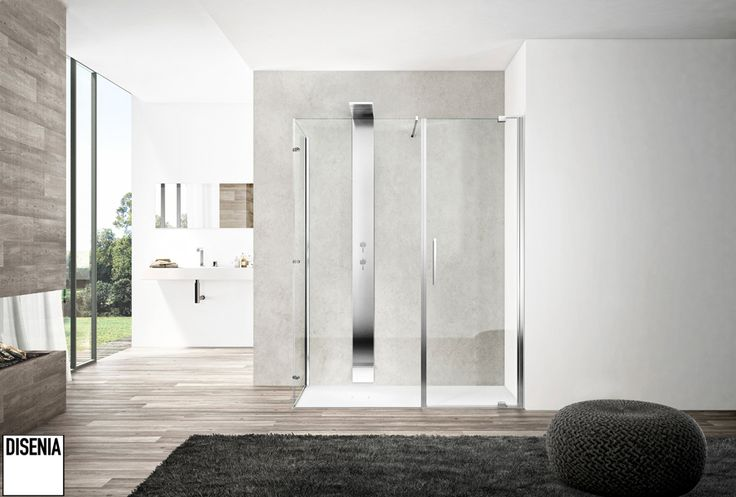 Slim range of minimalist #shower enclosures: utility and functionality go hand in hand with good looks and ease of installation. #Disenia #Ideagroup #Bath
