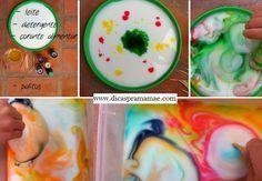 Tinta mágica com leite, detergente e corante - Dicas pra Mamãe