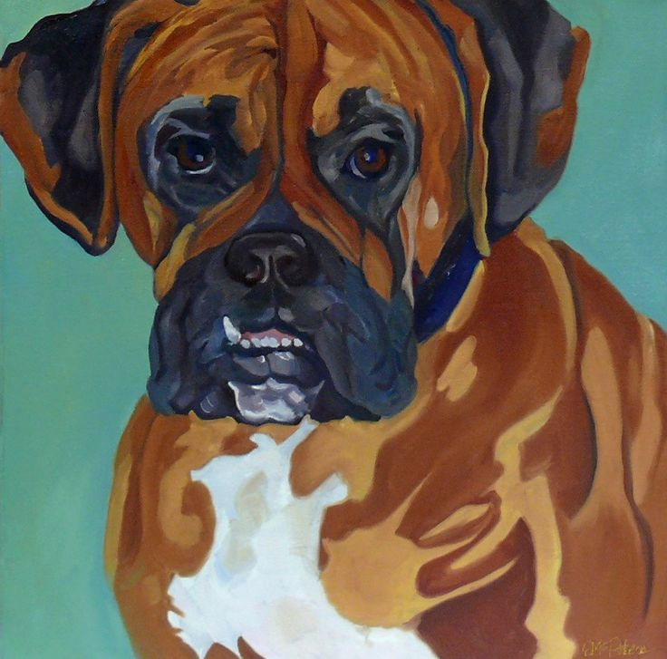 Boxer Dog Original Pet Portrait by BarkingDogCreations on Etsy
