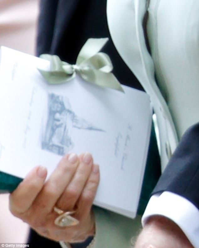 Kate's detailed drawing was spotted on the order of service, carried by James Matthews' mother Jane as she left the church on Saturday