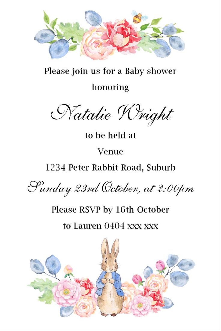 Peter Rabbit Baby Shower Invitation - JPEG File by KleezPrints on Etsy