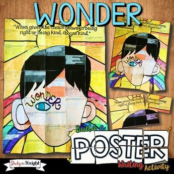 This Wonder writing activity poster is triple the fun with the combination of coloring, creativity, and group work! All inspired by your Wonder novel study. The collaborative poster features a student writing prompt and an illustration of the main character Auggie.