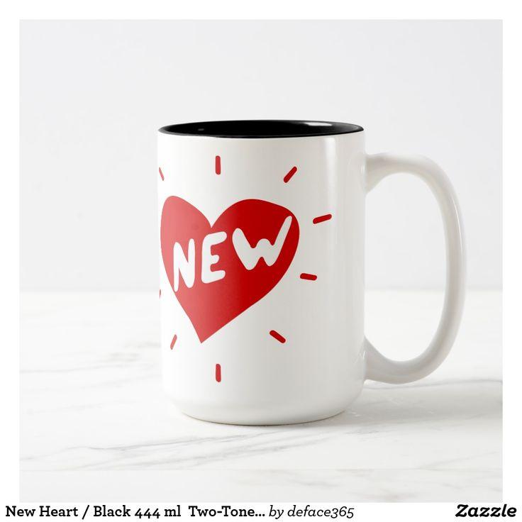 New Heart / Black 444 ml  Two-Tone Mug (red logo)