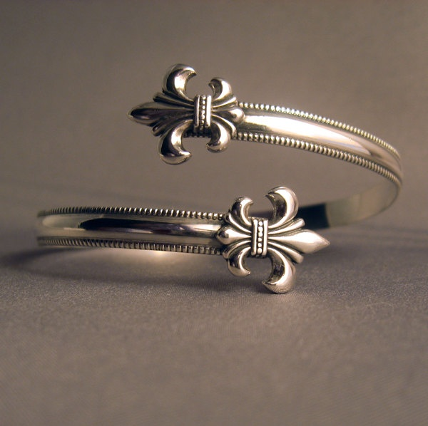 Sterling Silver 925 Fleur de lis wrap cuff bracelet adjustable. via Etsy. So pretty!!