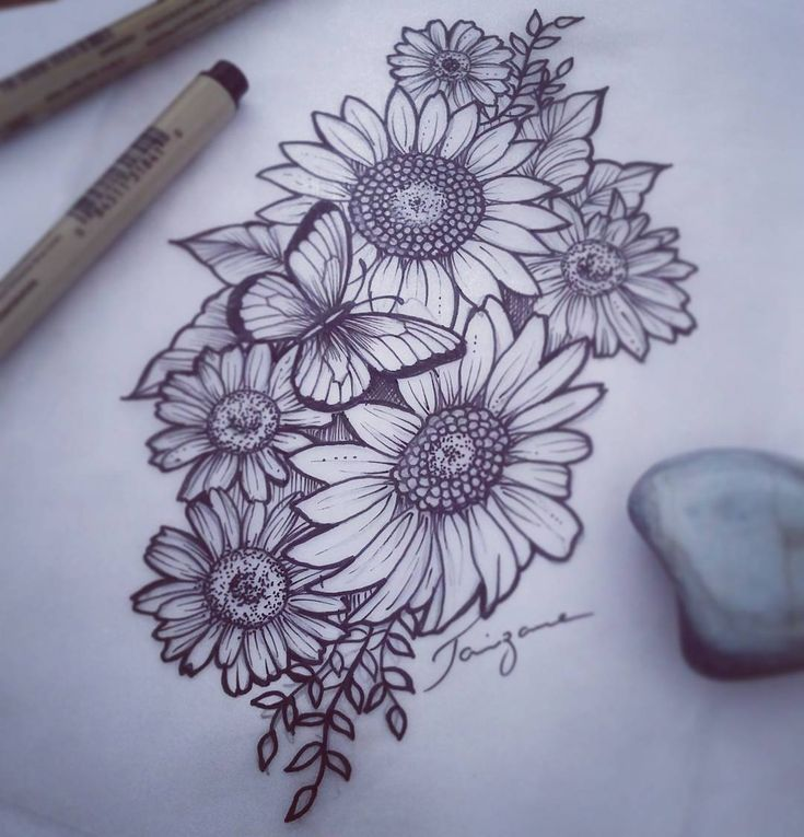 Floral Tattoo … Sunflowers with daisies! #floral tattoo #girassoltattoo #tatto …