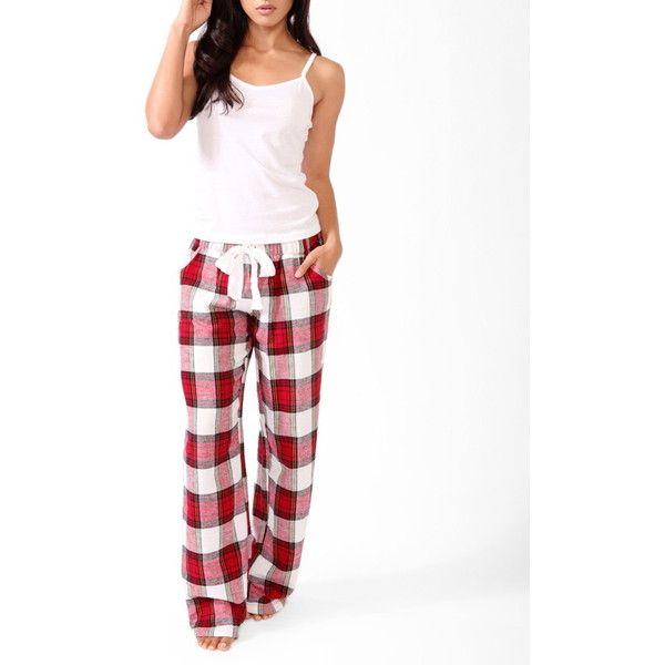 Forever 21 Women's Plaid Pants Pajama Set ($9.99) ❤ liked on Polyvore featuring intimates, sleepwear, pajamas, forever 21 pjs, plaid pajama set, forever 21 pajamas, forever 21 and tartan pajamas