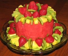 Fruit Cake! ~ watermelon, strawberries, kiwi fruit and pineapple ... source unknown