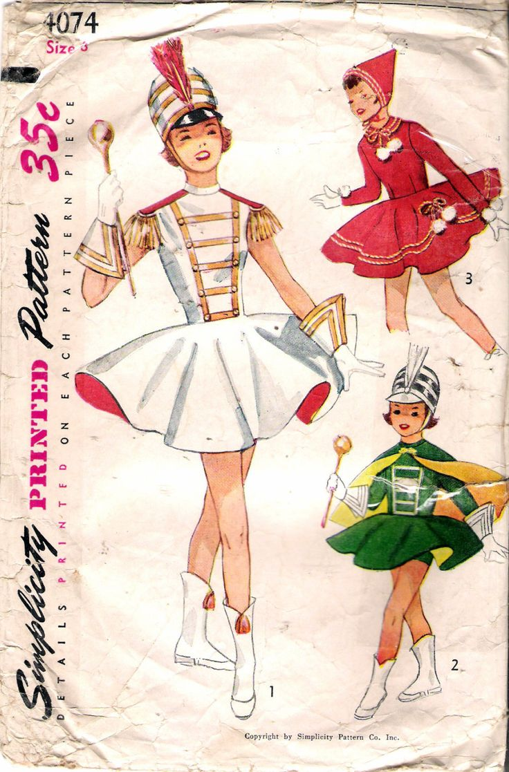 """Vintage 1952 Simplicity 4074 Girl's Drum Majorette & Skating Outfit Sewing Pattern Size 8 Breast 26"""" by Recycledelic1 on Etsy"""