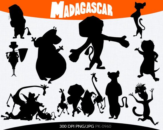 Madagascar Silhouette Clipart By Pinkykatieclipart On Etsy