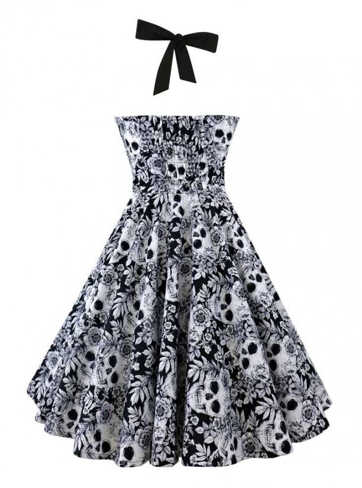 1950s Halter Skull Print Swing Dress Retro Stage Chic Vintage Dresses And Accessorie Rockabilly Cocktail Dress Retro Swing Dresses Casual Dresses For Women