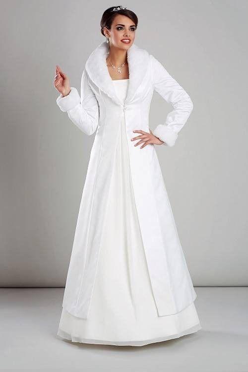 manteau de mariage satin et faux vison