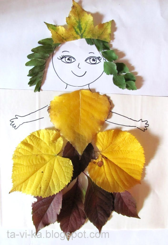 Habiller une princesse avec des feuilles d'automne : activité collage