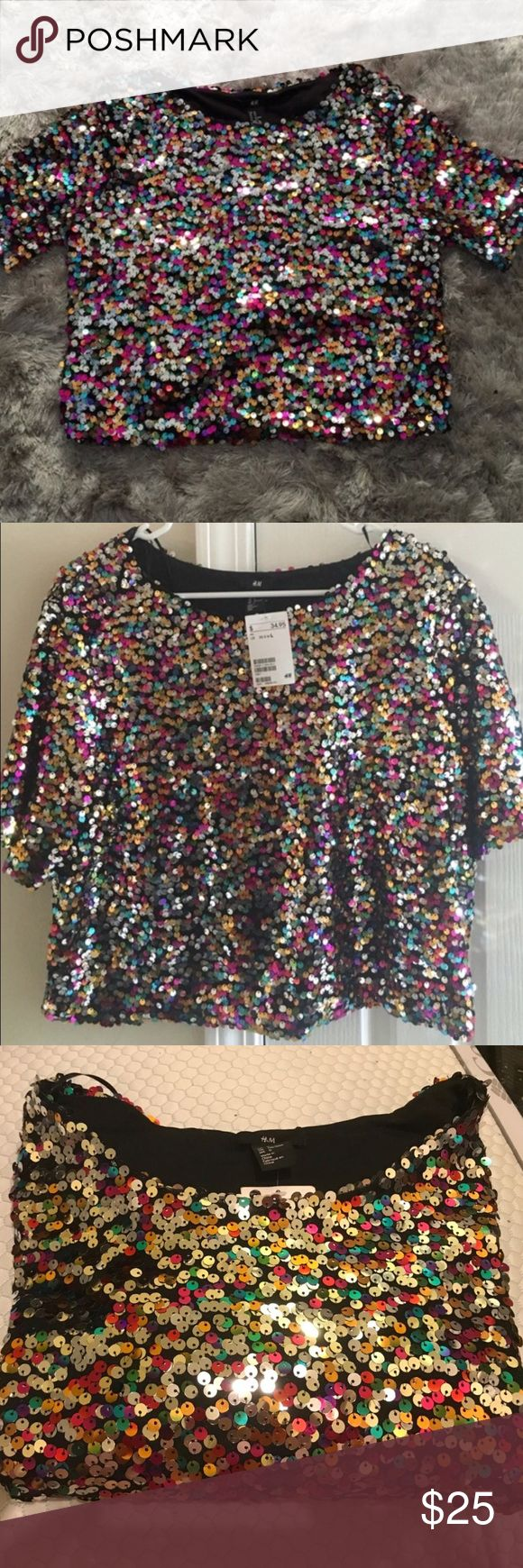 Sequin crop top Beautiful multi colored crop top. Never worn, brand new with tags H&M Tops Crop Tops