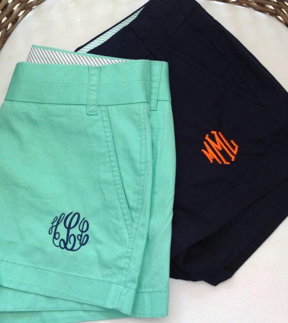 Monogrammed Chino Shorts by LittleCharmsDesigns on Etsy, $47.95