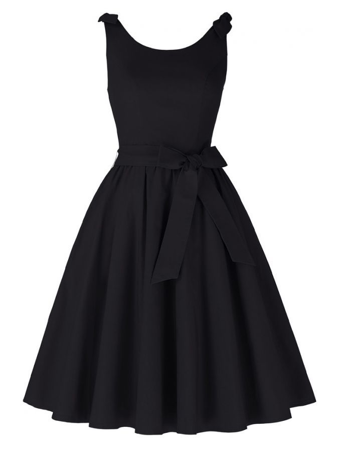 1950s Audrey Hepburn Vintage Style It's All About The Bow Dress in Black | Little Black Dress