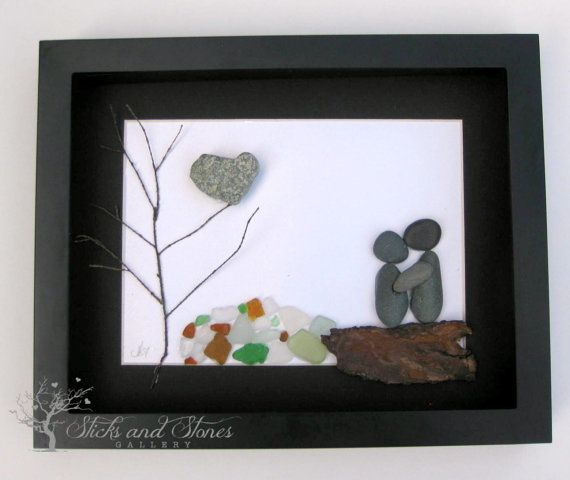 Unique Engagement Gift Pebble Art Couple Design by SticksnStone