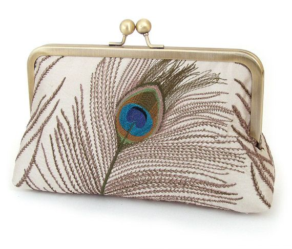Peacock feathers clutch bag, silk purse, teal turquoise silk, peacock wedding…