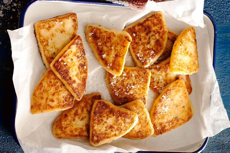Traditional tattie scones.  Double gloucester cheese gives authentic flavour to this British potato side dish.