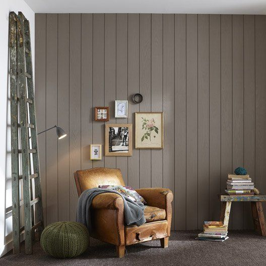 Mur de lambris en pin maritime bross coloris taupe pour - Mur salon taupe ...