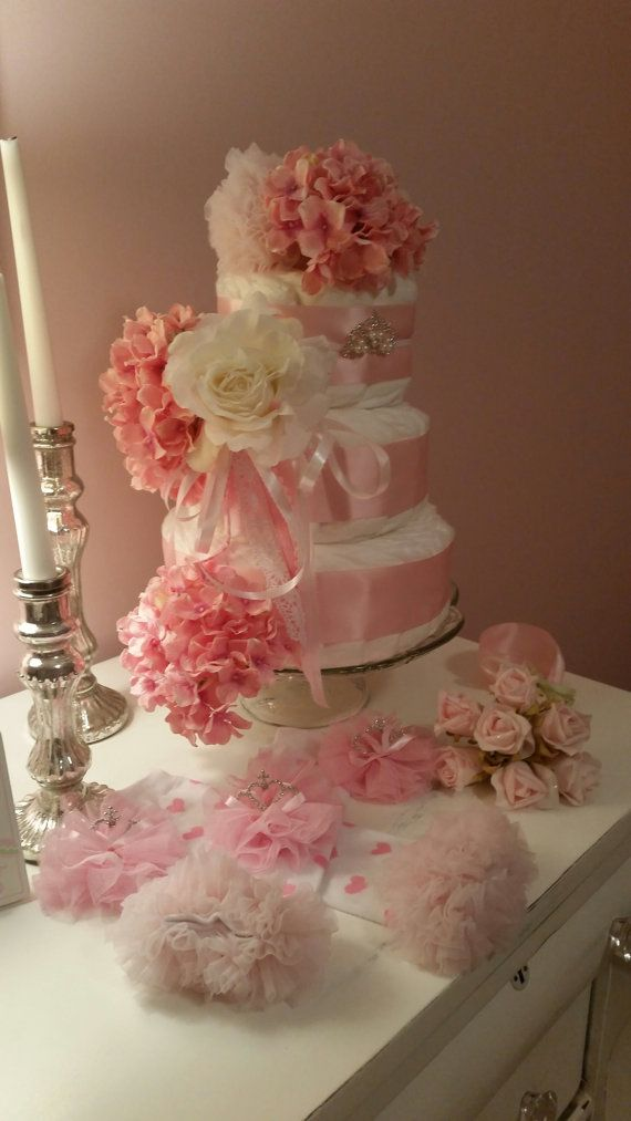 Girls Diaper Cake Shabby Pink Hydrangeas Rose by ItsUpInTheAttic