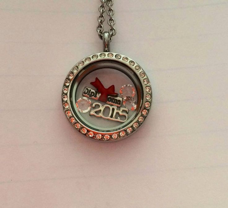 Large silver locket with crystals, diploma charm with 3 crystals. Order yours here: http://southhilldesigns.com/ca/debbiescharms/default