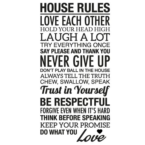 Wallsticker tekst House rules