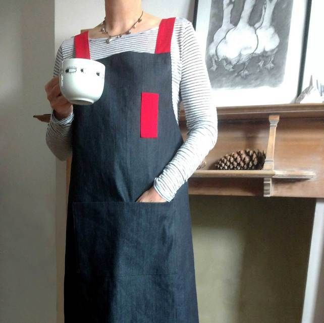 Charcoal Denim Cross Back Apron, Red Straps. For Artists & Makers. No 4.3