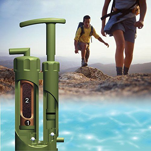 SQdeal® Mini Portable Soldier Outdoor Camping Hiking Backpacking Climbing Military Sos Survival Emergency Water Filter Purifier Purification Pump Filter
