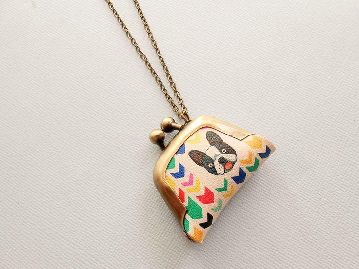 collier chien bulldog - collier cuir - collier porte monnaie - collier pendentif cuir - collier géométrique - collier bourse : Collier par esthete-bijoux