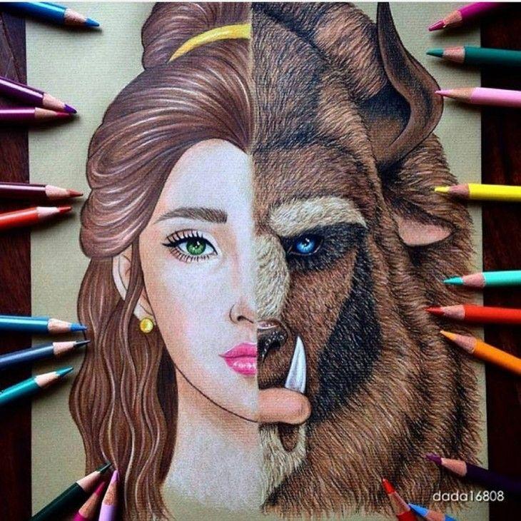 Dibujo de los rostros combinados de la Bella y La Bestia