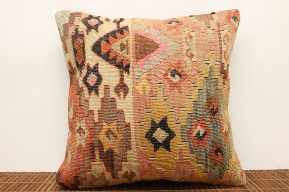 Bohemian Kilim pillow cover 16 x 16 Traditional pillow cover Ethnic Pillow cover Muted colors Pillow Modern Cushion Pillow case M-705