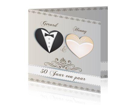 Een jubileumkaart voor een 50 jarig huwelijk. Vijftig jaar getrouwd kaarten maken voor een jubileum met hartjes.