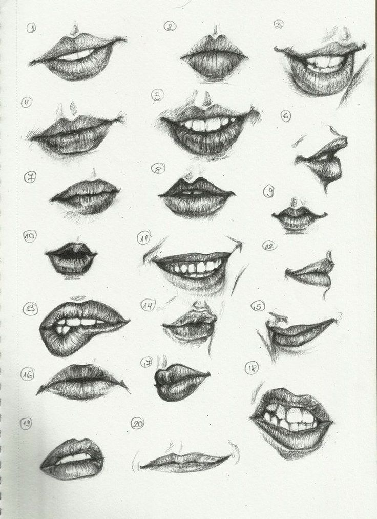 how to draw lips on paper
