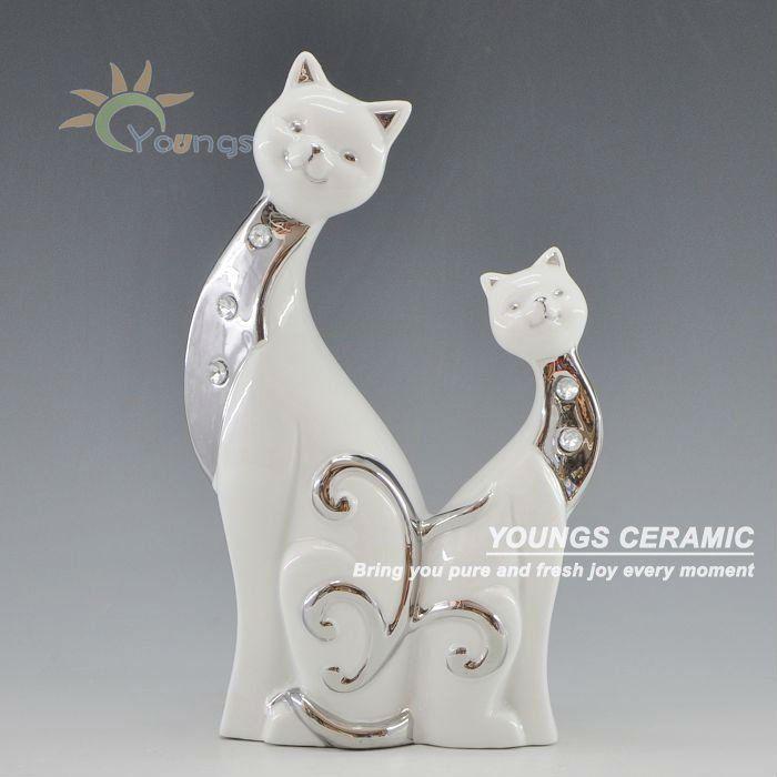 caliente la artesanía delicada artesanía de cerámica dos gatos kitty estatua de la figura de los animales-imagen-Artesanías Populares-Identi...