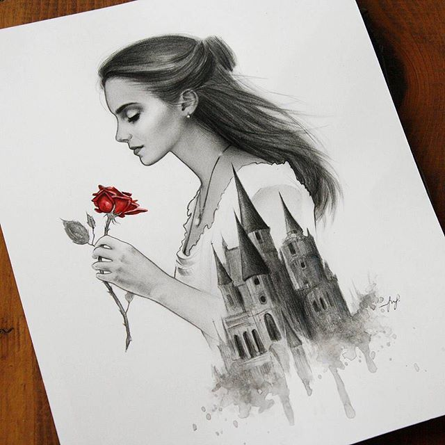 Breathtaking artwork by @mindy_darling❤️ #disney #beautyandthebeast #beautyandthebeast2017 #belle #beast #emmawatson #danstevens