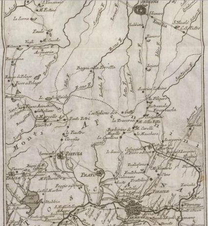 Mappa del percorso dell'antica Postale Firenze Bologna