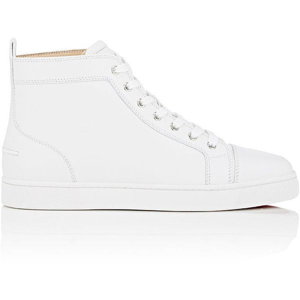 Christian Louboutin Men's Louis Flat Leather Sneakers ($895) ❤ liked on Polyvore featuring men's fashion, men's shoes, men's sneakers, white, mens high top shoes, christian louboutin mens sneakers, mens white high top sneakers, mens leather high top sneakers and mens white leather shoes