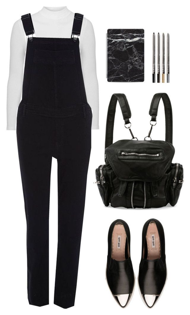 """""""Monochrome Overalls"""" by xoscandinavian ❤ liked on Polyvore featuring Topshop, River Island, Miu Miu, Alexander Wang, LORAC and Casetify"""