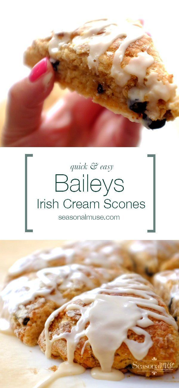 Quick and Easy Baileys Irish Cream Scones — YUM! These scones have a lovely crust and a tender texture — lower fat version too! You won't need to go the coffee shop any more . . . | seasonalmuse.com